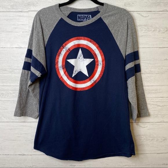 Marvel captain America raglan graphic t shirt